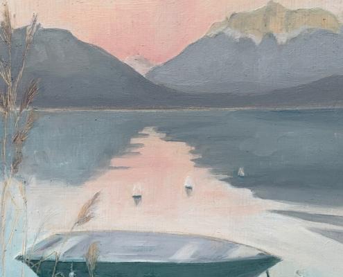 Soirée sereine sur le Lac - Peinture à l'huile sur bois