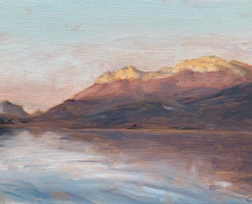 Soleil couchant sur les Dents de Lanfont - Peinture à l'huile sur bois