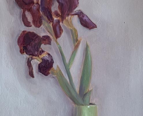 Iris de Mai - Peinture à l'huile sur bois