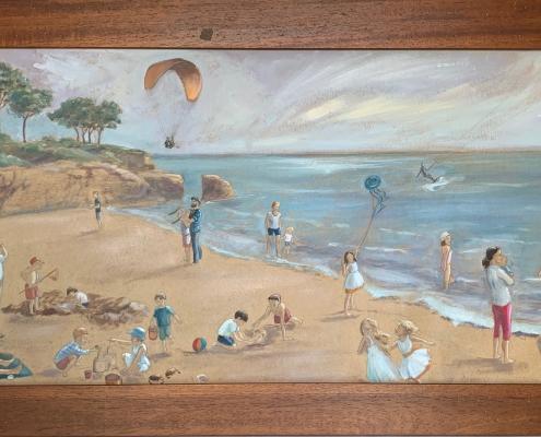 Panorama plage - Peinture à l'huile sur papier kraft
