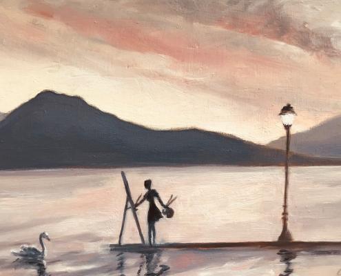 L'artiste du Lac - peinture à l'huile