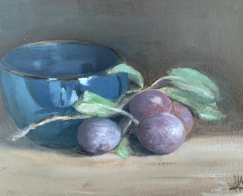 Prunes et faïence bleue - Peinture à l'huile sur bois