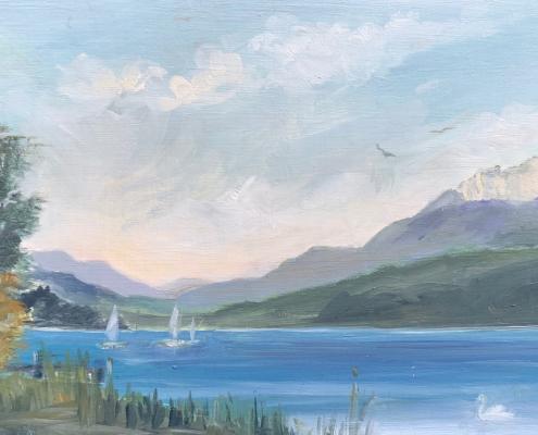 Petit Lac d'Annecy - peinture à l'huile sur bois